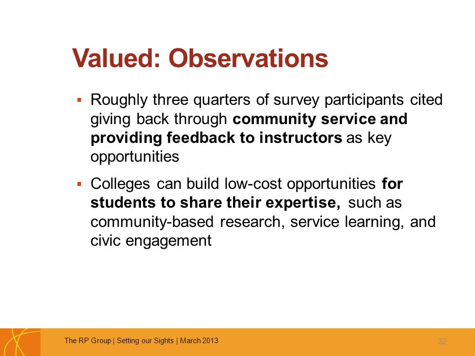 Valued: Observations  Roughly three quarters of survey participants cited giving back through community service and providing feedback to instructors