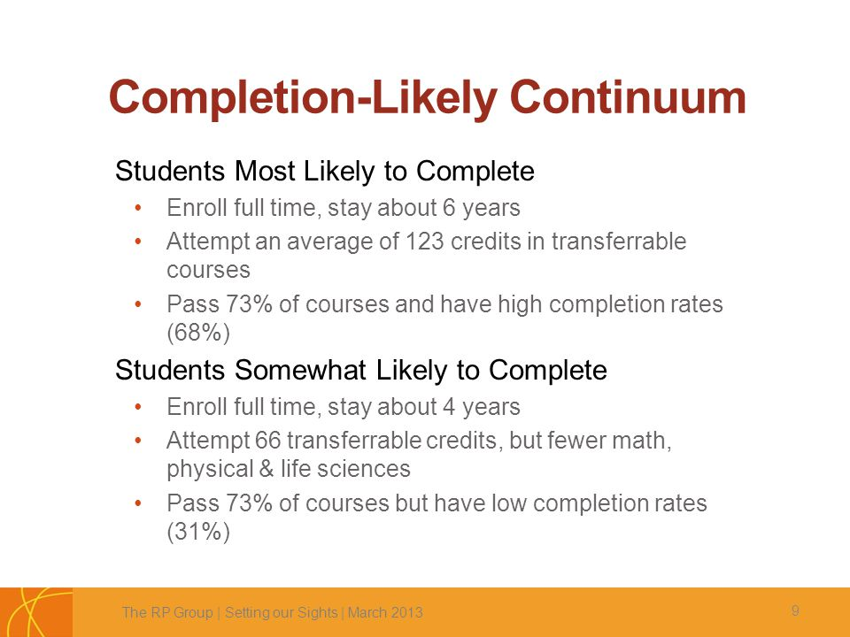Completion-Likely Continuum 9 Students Most Likely to Complete Enroll full time, stay about 6 years Attempt an average of 123 credits in transferrable courses Pass 73% of courses and have high completion rates (68%) Students Somewhat Likely to Complete Enroll full time, stay about 4 years Attempt 66 transferrable credits, but fewer math, physical & life sciences Pass 73% of courses but have low completion rates (31%) The RP Group | Setting our Sights | March 2013