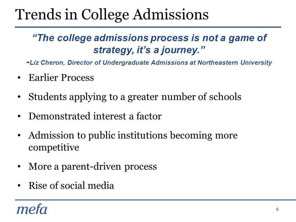 6 Earlier Process Students applying to a greater number of schools Demonstrated interest a factor Admission to public institutions becoming more compe