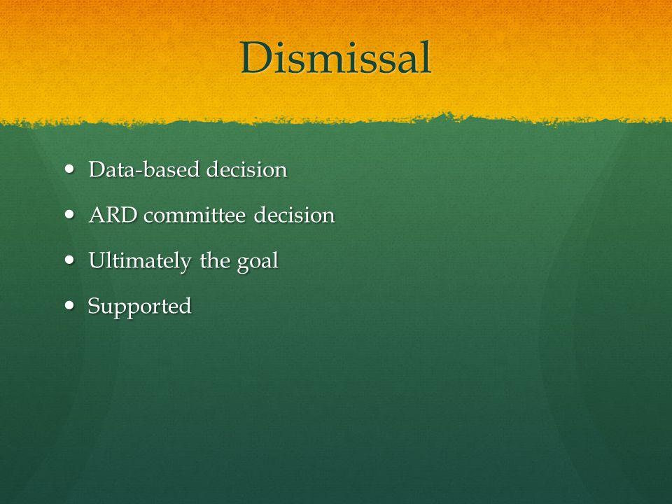 Dismissal Data-based decision Data-based decision ARD committee decision ARD committee decision Ultimately the goal Ultimately the goal Supported Supported