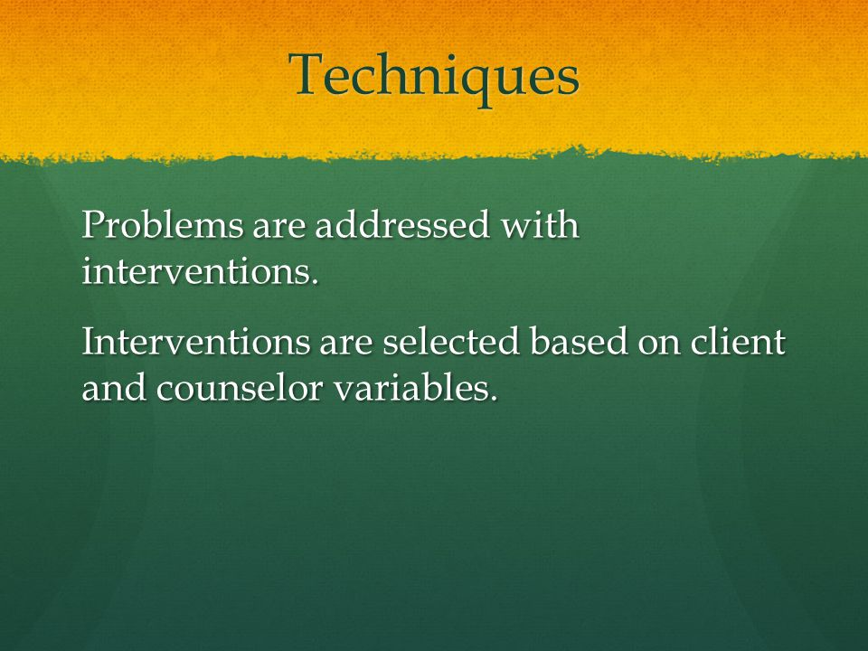 Techniques Problems are addressed with interventions. Interventions are selected based on client and counselor variables.