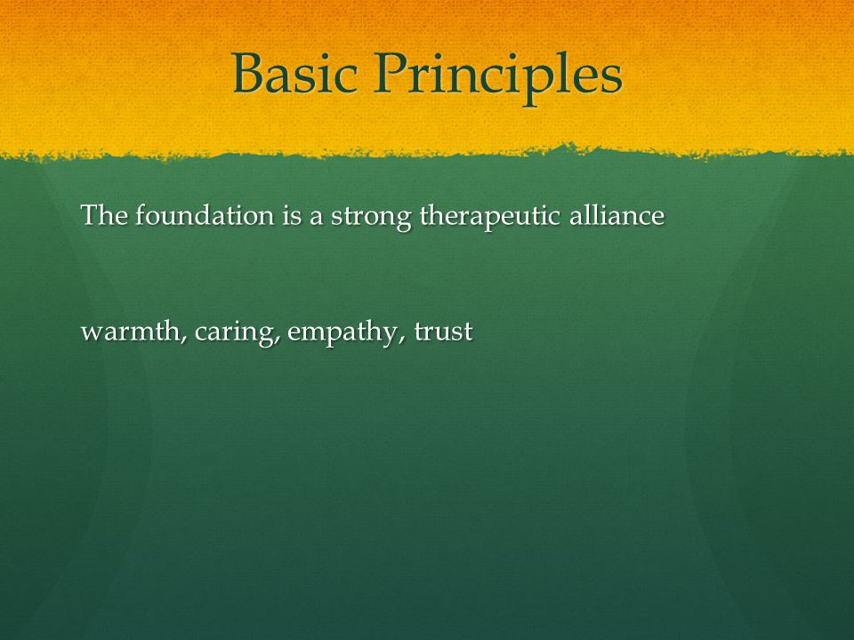 Basic Principles The foundation is a strong therapeutic alliance warmth, caring, empathy, trust