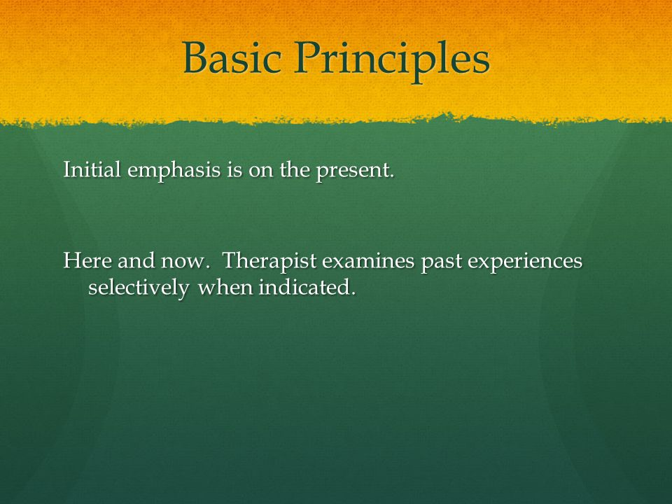 Basic Principles Initial emphasis is on the present. Here and now. Therapist examines past experiences selectively when indicated.
