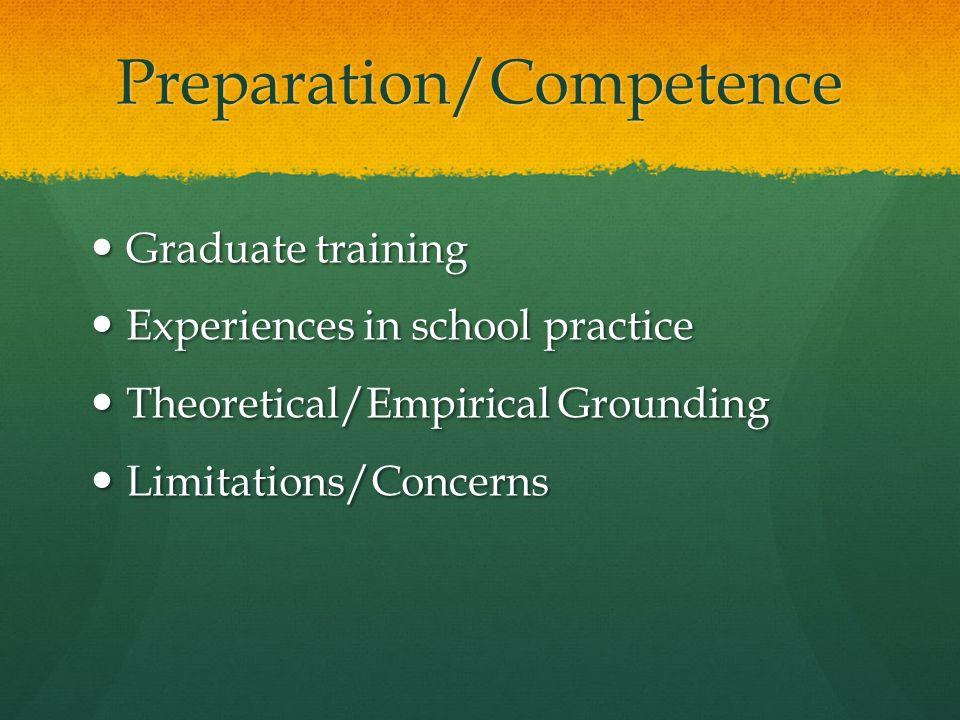Preparation/Competence Graduate training Graduate training Experiences in school practice Experiences in school practice Theoretical/Empirical Grounding Theoretical/Empirical Grounding Limitations/Concerns Limitations/Concerns