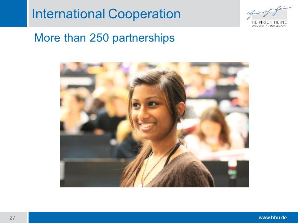 www.hhu.de International Cooperation 27 More than 250 partnerships