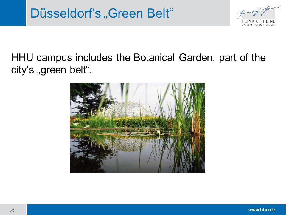 """www.hhu.de Düsseldorf's """"Green Belt HHU campus includes the Botanical Garden, part of the city's """"green belt ."""