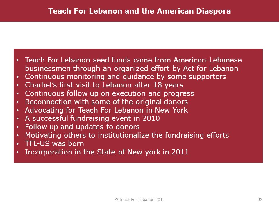 Teach For Lebanon seed funds came from American-Lebanese businessmen through an organized effort by Act for Lebanon Continuous monitoring and guidance by some supporters Charbel's first visit to Lebanon after 18 years Continuous follow up on execution and progress Reconnection with some of the original donors Advocating for Teach For Lebanon in New York A successful fundraising event in 2010 Follow up and updates to donors Motivating others to institutionalize the fundraising efforts TFL-US was born Incorporation in the State of New york in 2011 Launch of Teach For Lebanon in August 2008Teach For Lebanon and the American Diaspora 32© Teach For Lebanon 2012