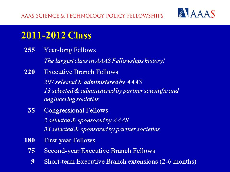 2011-2012 Class 255 Year-long Fellows The largest class in AAAS Fellowships history.