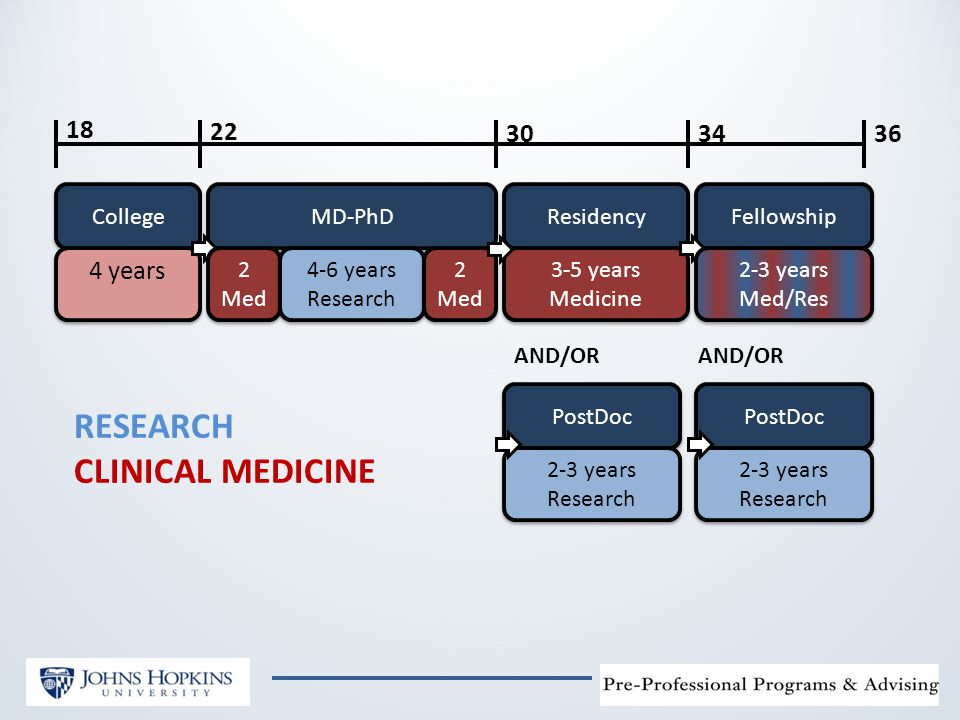 College 4 years MD-PhD Residency Fellowship AND/OR 2 Med 2 Med 4-6 years Research 4-6 years Research 2 Med 2 Med 3-5 years Medicine 3-5 years Medicine 2-3 years Med/Res 2-3 years Med/Res PostDoc 2-3 years Research 2-3 years Research PostDoc 2-3 years Research 2-3 years Research AND/OR 18 22 303436 RESEARCH CLINICAL MEDICINE