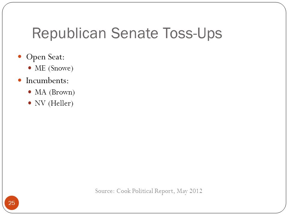Republican Senate Toss-Ups Open Seat: ME (Snowe) Incumbents: MA (Brown) NV (Heller) Source: Cook Political Report, May 2012 25