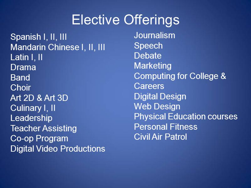 Elective Offerings Spanish I, II, III Mandarin Chinese I, II, III Latin I, II Drama Band Choir Art 2D & Art 3D Culinary I, II Leadership Teacher Assisting Co-op Program Digital Video Productions Journalism Speech Debate Marketing Computing for College & Careers Digital Design Web Design Physical Education courses Personal Fitness Civil Air Patrol
