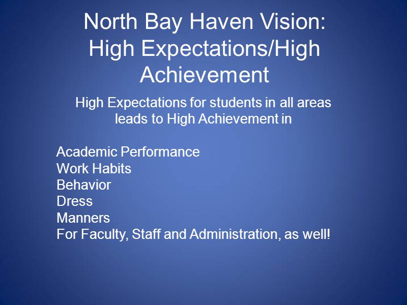 North Bay Haven Vision: High Expectations/High Achievement High Expectations for students in all areas leads to High Achievement in Academic Performance Work Habits Behavior Dress Manners For Faculty, Staff and Administration, as well!