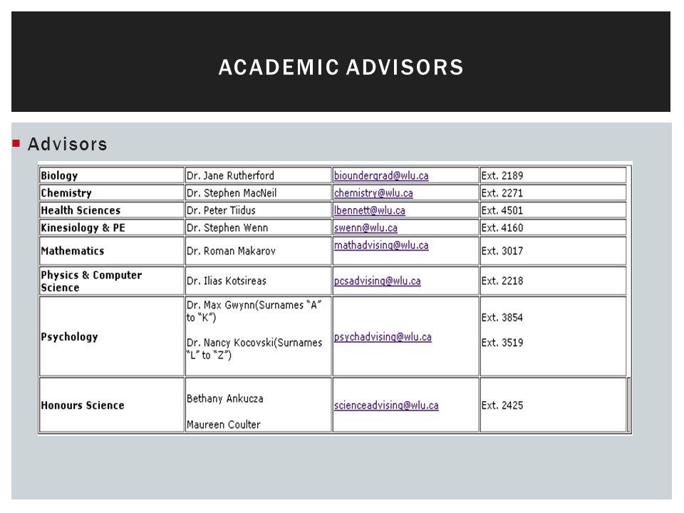  Advisors ACADEMIC ADVISORS
