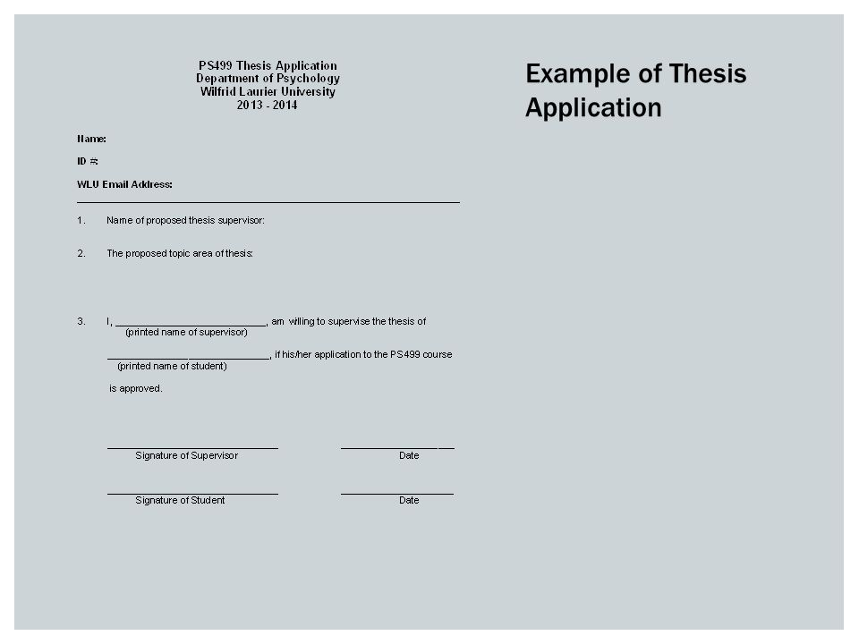 Example of Thesis Application