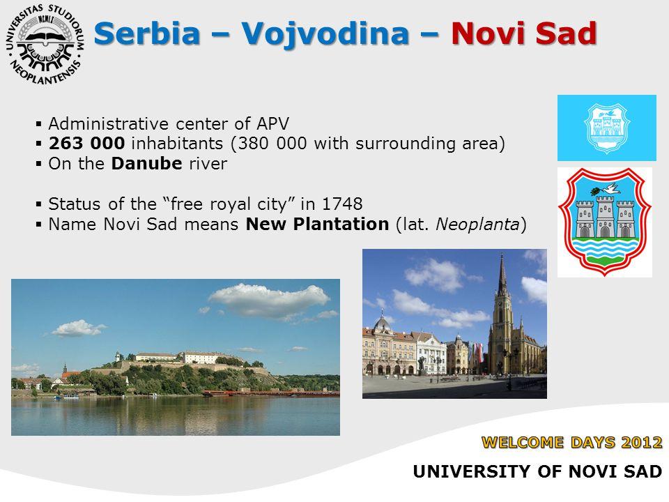 Serbia – Vojvodina – Novi Sad  Administrative center of APV  263 000 inhabitants (380 000 with surrounding area)  On the Danube river  Status of the free royal city in 1748  Name Novi Sad means New Plantation (lat.