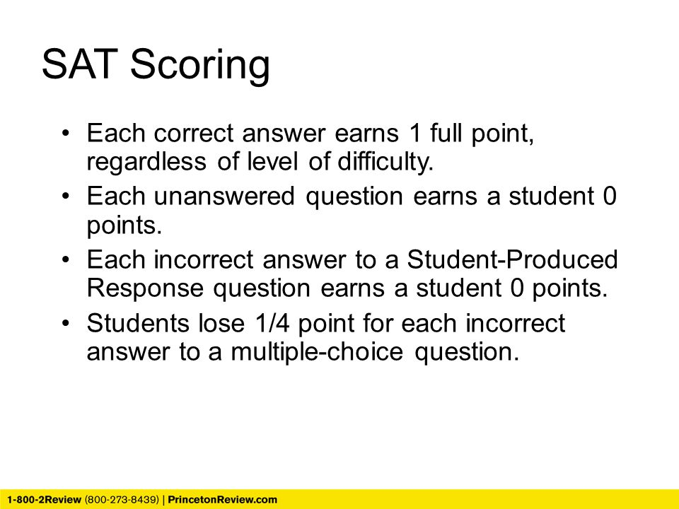 Each correct answer earns 1 full point, regardless of level of difficulty. Each unanswered question earns a student 0 points. Each incorrect answer to