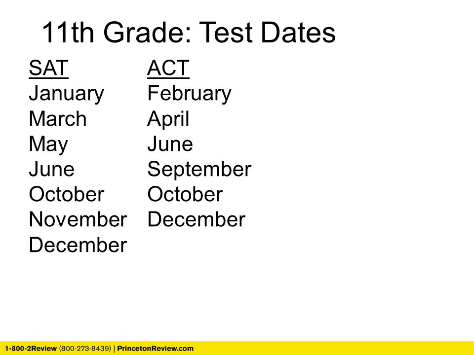 SATACT JanuaryFebruary MarchApril MayJune JuneSeptemberOctober NovemberDecember December 11th Grade: Test Dates