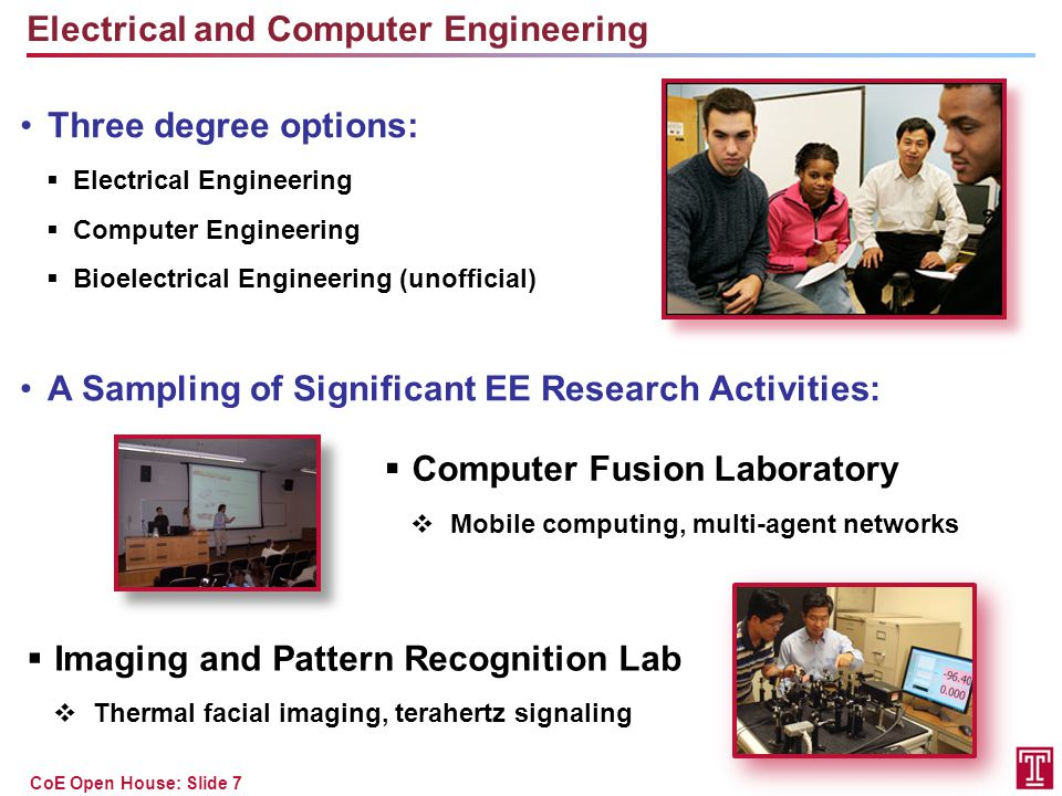 CoE Open House: Slide 7 Electrical and Computer Engineering Three degree options:  Electrical Engineering  Computer Engineering  Bioelectrical Engi