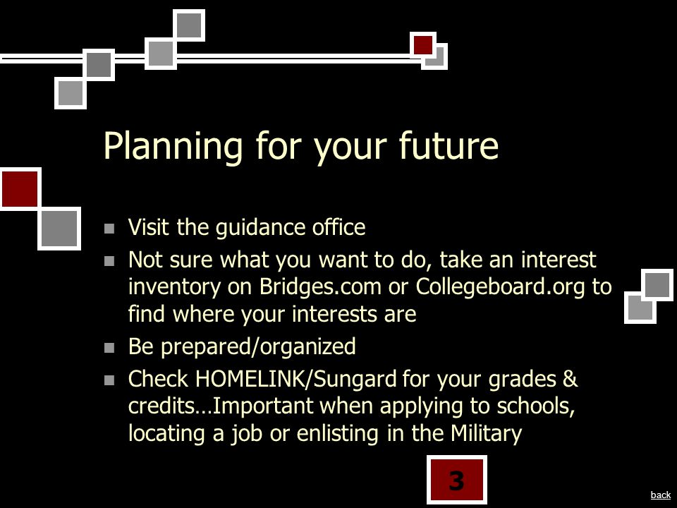 3 Planning for your future Visit the guidance office Not sure what you want to do, take an interest inventory on Bridges.com or Collegeboard.org to find where your interests are Be prepared/organized Check HOMELINK/Sungard for your grades & credits…Important when applying to schools, locating a job or enlisting in the Military back