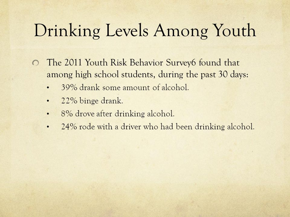 Youth and Alcohol Approximately 11 million American youth under the age of 21 drink alcohol.