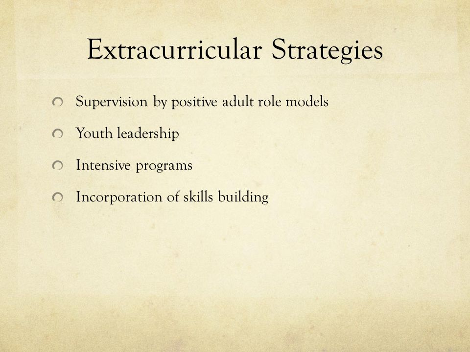 Extracurricular Strategies Supervision by positive adult role models Youth leadership Intensive programs Incorporation of skills building