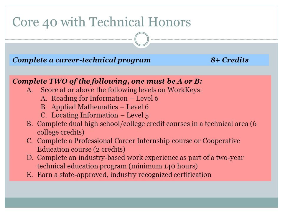 Core 40 with Technical Honors Complete a career-technical program8+ Credits Complete TWO of the following, one must be A or B: A.Score at or above the following levels on WorkKeys: A.Reading for Information – Level 6 B.Applied Mathematics – Level 6 C.Locating Information – Level 5 B.Complete dual high school/college credit courses in a technical area (6 college credits) C.Complete a Professional Career Internship course or Cooperative Education course (2 credits) D.Complete an industry-based work experience as part of a two-year technical education program (minimum 140 hours) E.Earn a state-approved, industry recognized certification