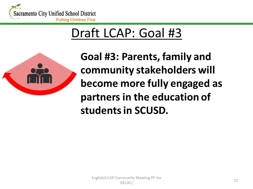 Draft LCAP: Goal #3 Goal #3: Parents, family and community stakeholders will become more fully engaged as partners in the education of students in SCUSD.
