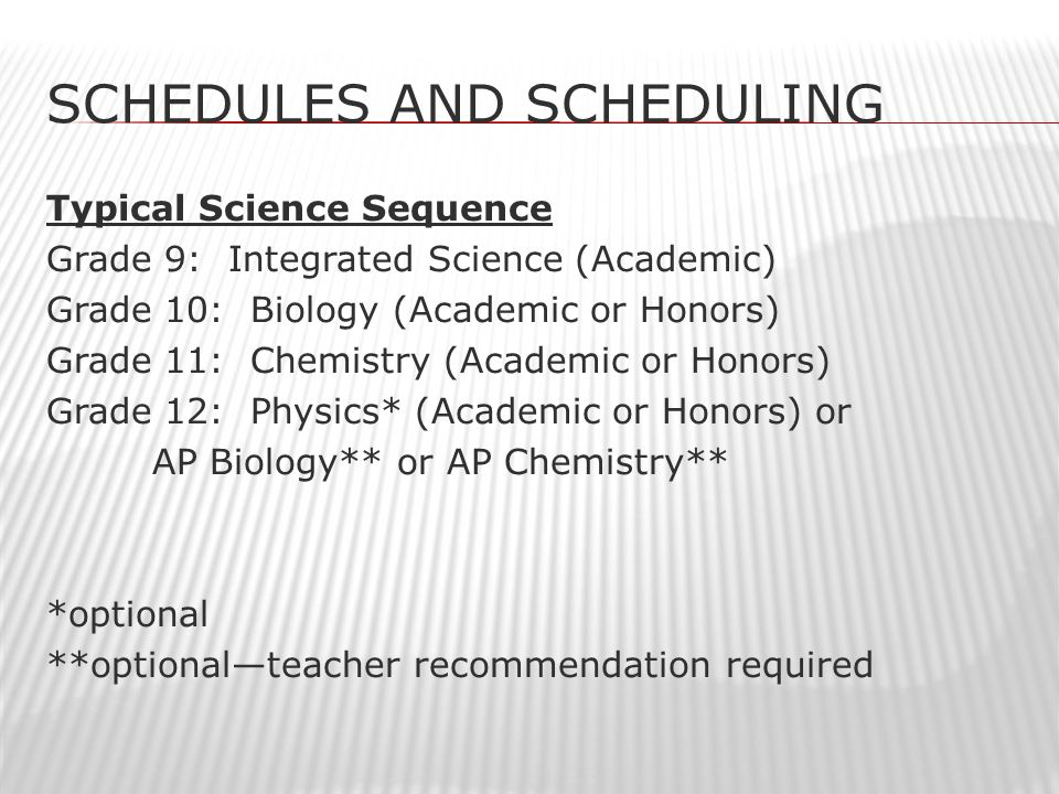 SCHEDULES AND SCHEDULING Typical Science Sequence Grade 9: Integrated Science (Academic) Grade 10: Biology (Academic or Honors) Grade 11: Chemistry (Academic or Honors) Grade 12: Physics* (Academic or Honors) or AP Biology** or AP Chemistry** *optional **optional—teacher recommendation required