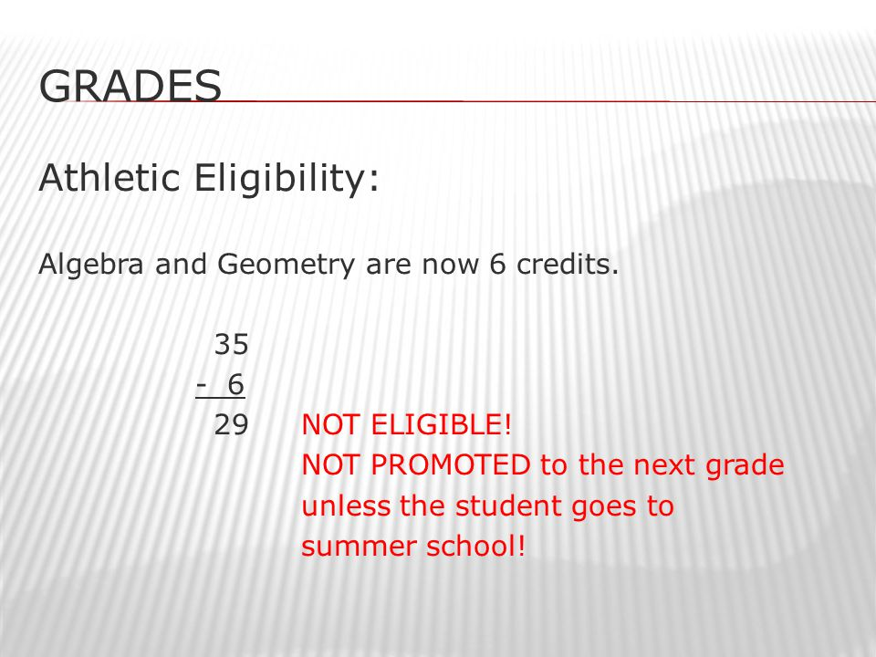GRADES Athletic Eligibility: Algebra and Geometry are now 6 credits.