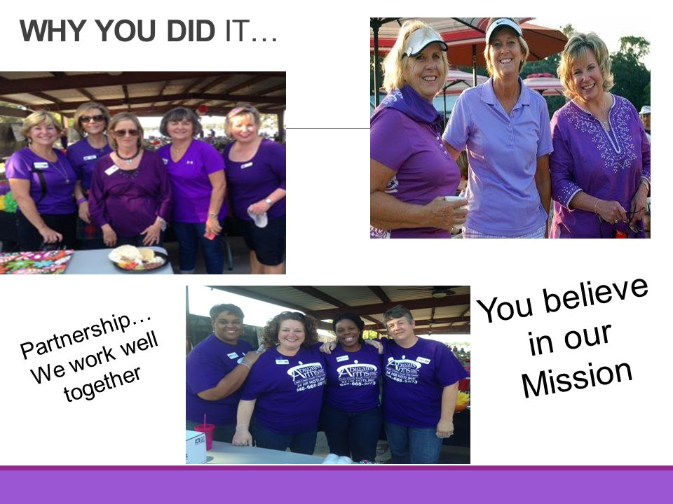 WHY YOU DID IT… You believe in our Mission Partnership… We work well together