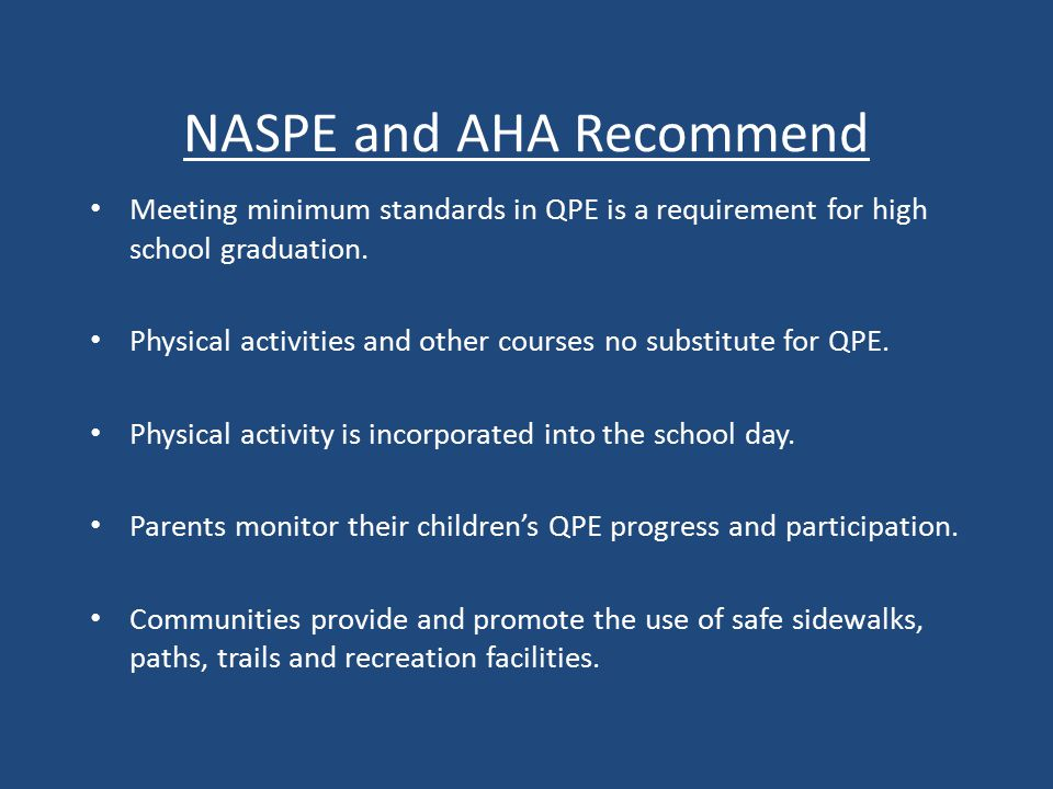 NASPE and AHA Recommend Meeting minimum standards in QPE is a requirement for high school graduation.