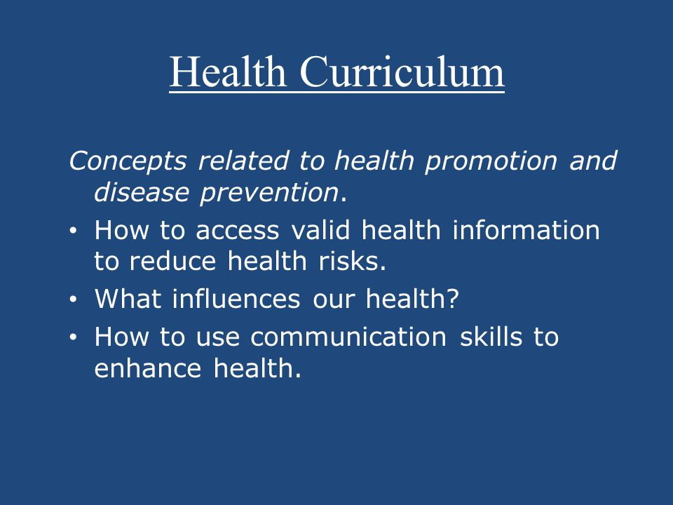 Concepts related to health promotion and disease prevention.