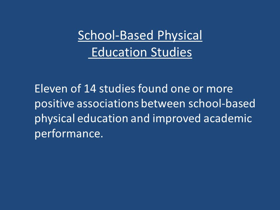 School-Based Physical Education Studies Eleven of 14 studies found one or more positive associations between school-based physical education and improved academic performance.