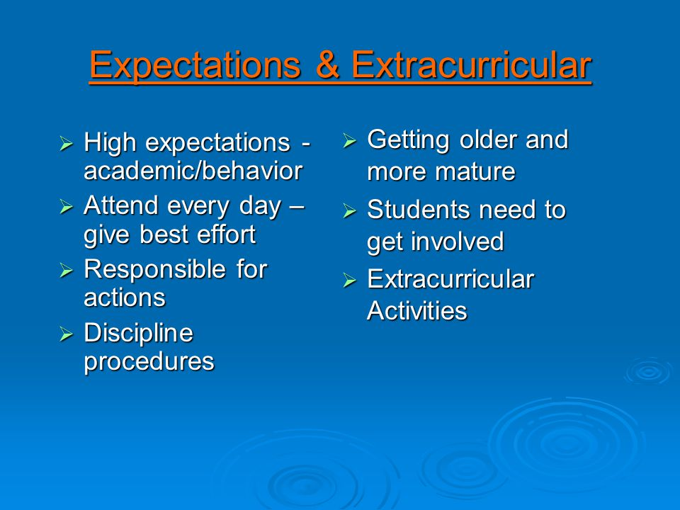 Expectations & Extracurricular  High expectations - academic/behavior  Attend every day – give best effort  Responsible for actions  Discipline procedures  Getting older and more mature  Students need to get involved  Extracurricular Activities
