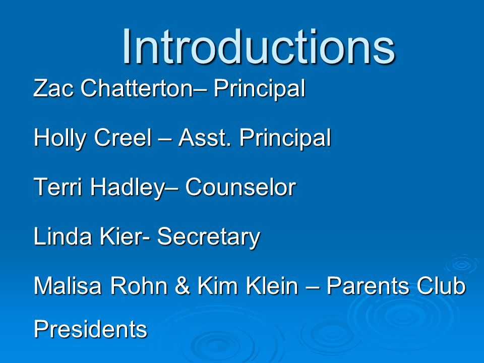 Introductions Zac Chatterton– Principal Holly Creel – Asst.