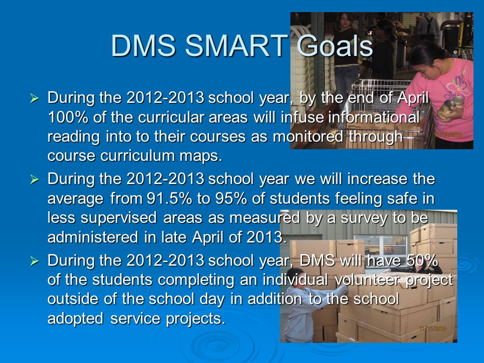 DMS SMART Goals  During the 2012-2013 school year, by the end of April 100% of the curricular areas will infuse informational reading into to their courses as monitored through course curriculum maps.