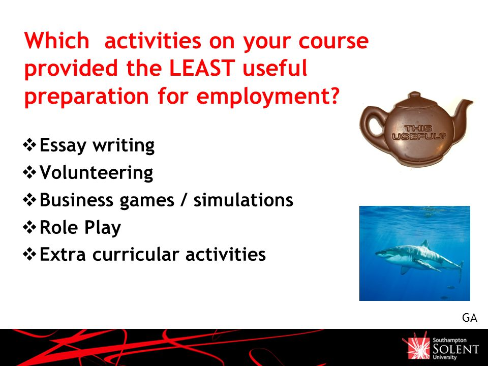 Which activities on your course provided the LEAST useful preparation for employment.