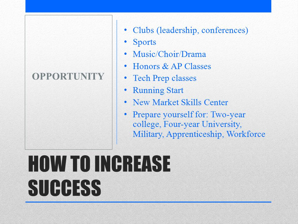 HOW TO INCREASE SUCCESS Clubs (leadership, conferences) Sports Music/Choir/Drama Honors & AP Classes Tech Prep classes Running Start New Market Skills Center Prepare yourself for: Two-year college, Four-year University, Military, Apprenticeship, Workforce OPPORTUNITY