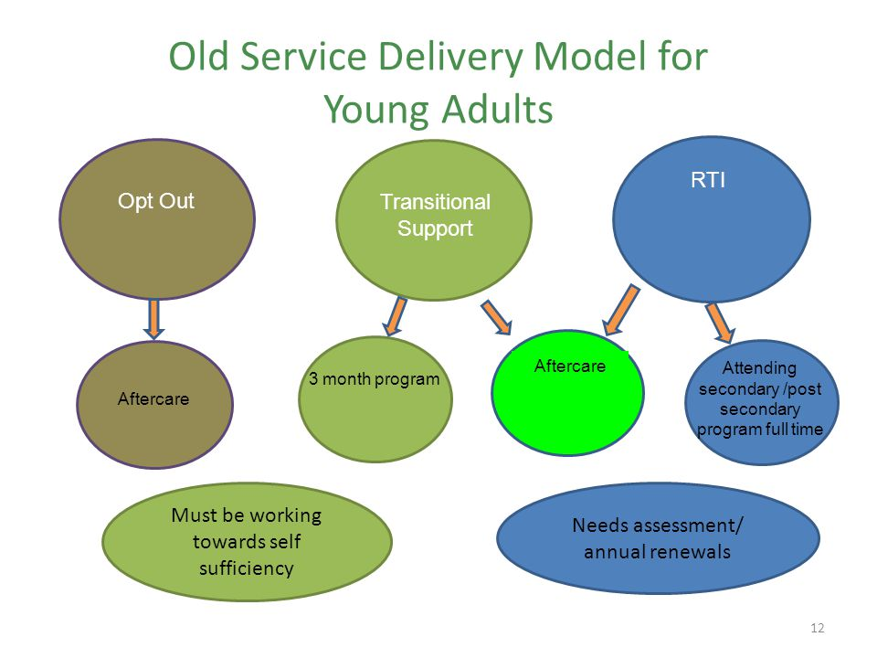 Old Service Delivery Model for Young Adults 12 Needs assessment/ annual renewals Must be working towards self sufficiency Opt OutTransitional Support RTI Aftercare 3 month program Aftercare Attending secondary /post secondary program full time