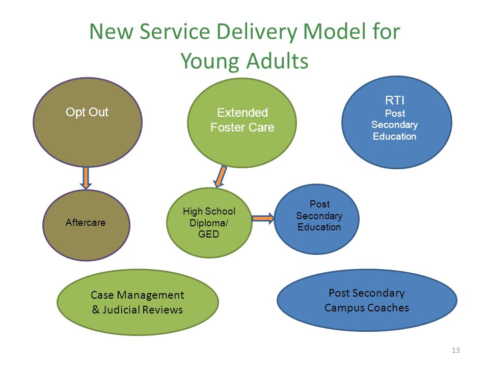 New Service Delivery Model for Young Adults 13 Post Secondary Campus Coaches Case Management & Judicial Reviews Opt OutExtended Foster Care RTI Post Secondary Education Post Secondary Education High School Diploma/ GED Aftercare