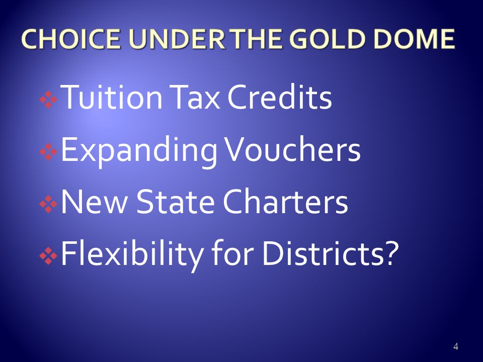  Tuition Tax Credits  Expanding Vouchers  New State Charters  Flexibility for Districts? 4