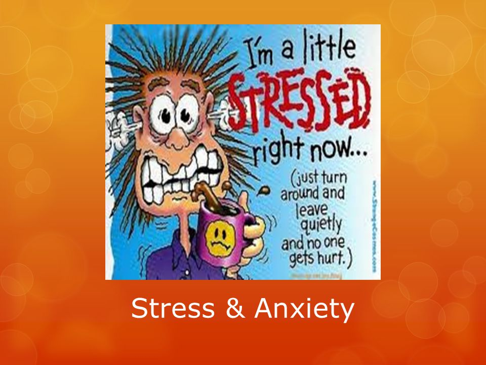 Stress & Anxiety Management Laugh Regular sleep (at least 8 hours per night) Well-balanced diet Avoid caffeine Exercise regularly Drink water (4-8 glasses per day) Avoid drugs, alcohol, and tobacco Find your own personal and safe way to unwind (e.g., hiking, exercising, journaling, eating a favorite treat, doing a craft, playing games, working on a puzzle, etc.) Get sunlight – Vitamin D Be prepared/organized – don't wait until the last minute to do assignments or study for a test