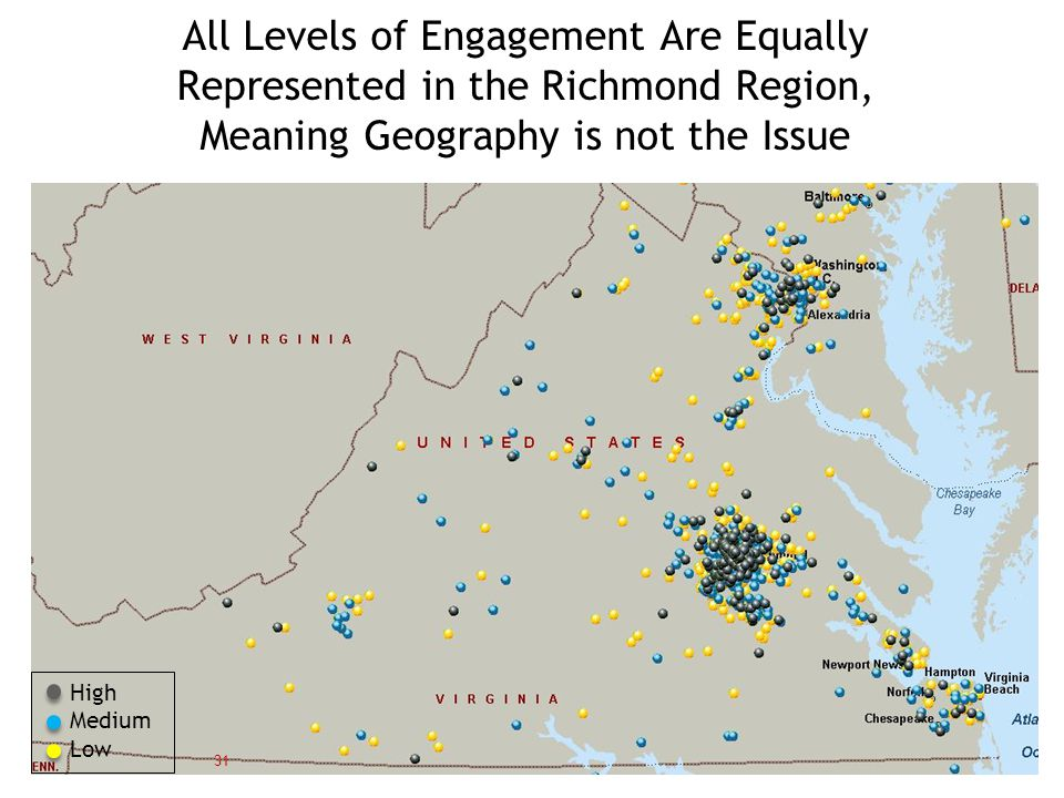 All Levels of Engagement Are Equally Represented in the Richmond Region, Meaning Geography is not the Issue 31 High Medium Low