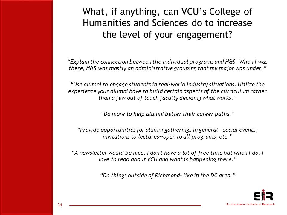 Southeastern Institute of Research What, if anything, can VCU's College of Humanities and Sciences do to increase the level of your engagement.