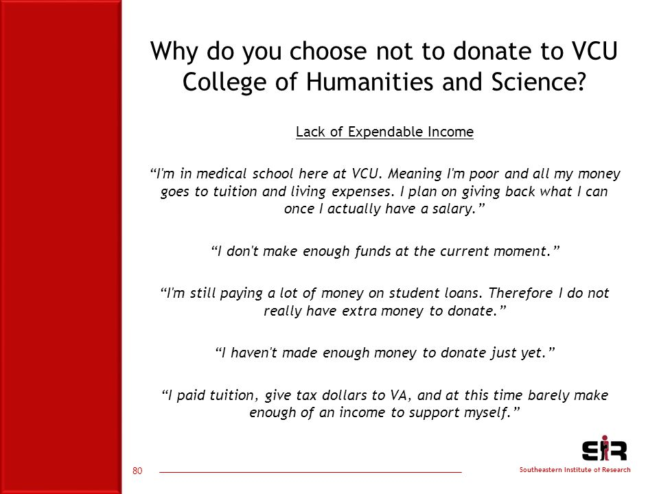 Southeastern Institute of Research Why do you choose not to donate to VCU College of Humanities and Science.