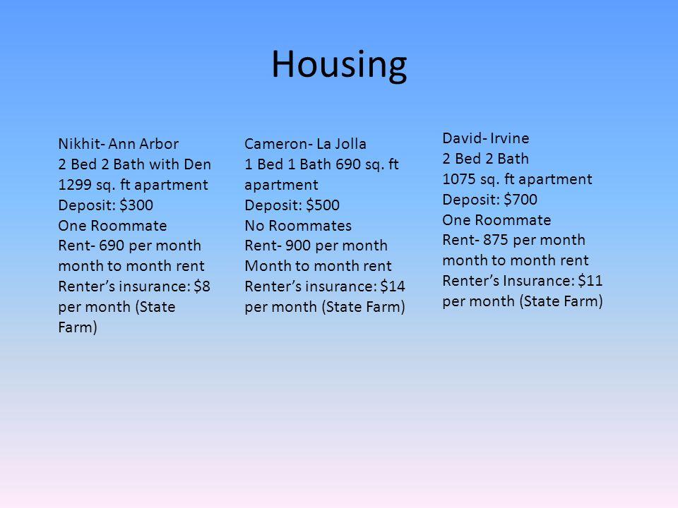 Housing Nikhit- Ann Arbor 2 Bed 2 Bath with Den 1299 sq.