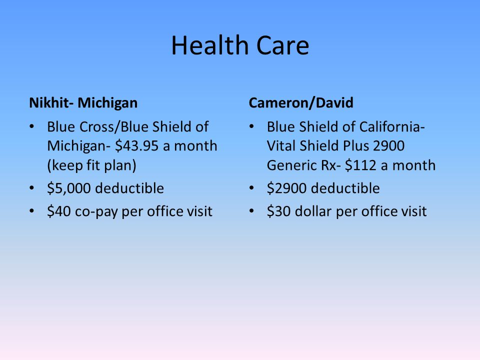 Health Care Nikhit- Michigan Blue Cross/Blue Shield of Michigan- $43.95 a month (keep fit plan) $5,000 deductible $40 co-pay per office visit Cameron/