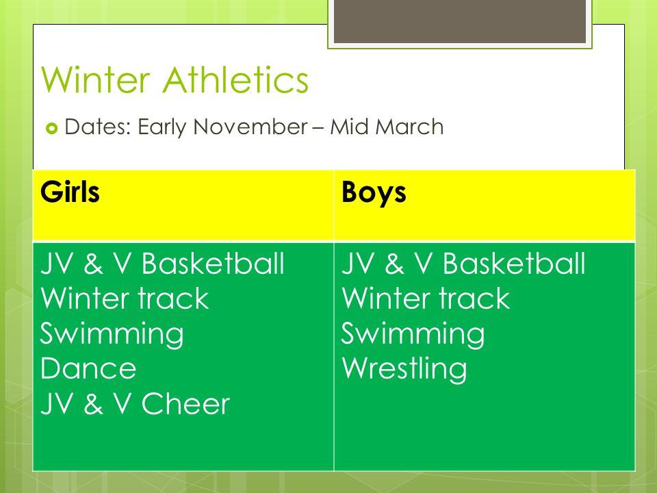 Winter Athletics  Dates: Early November – Mid March GirlsBoys JV & V Basketball Winter track Swimming Dance JV & V Cheer JV & V Basketball Winter track Swimming Wrestling