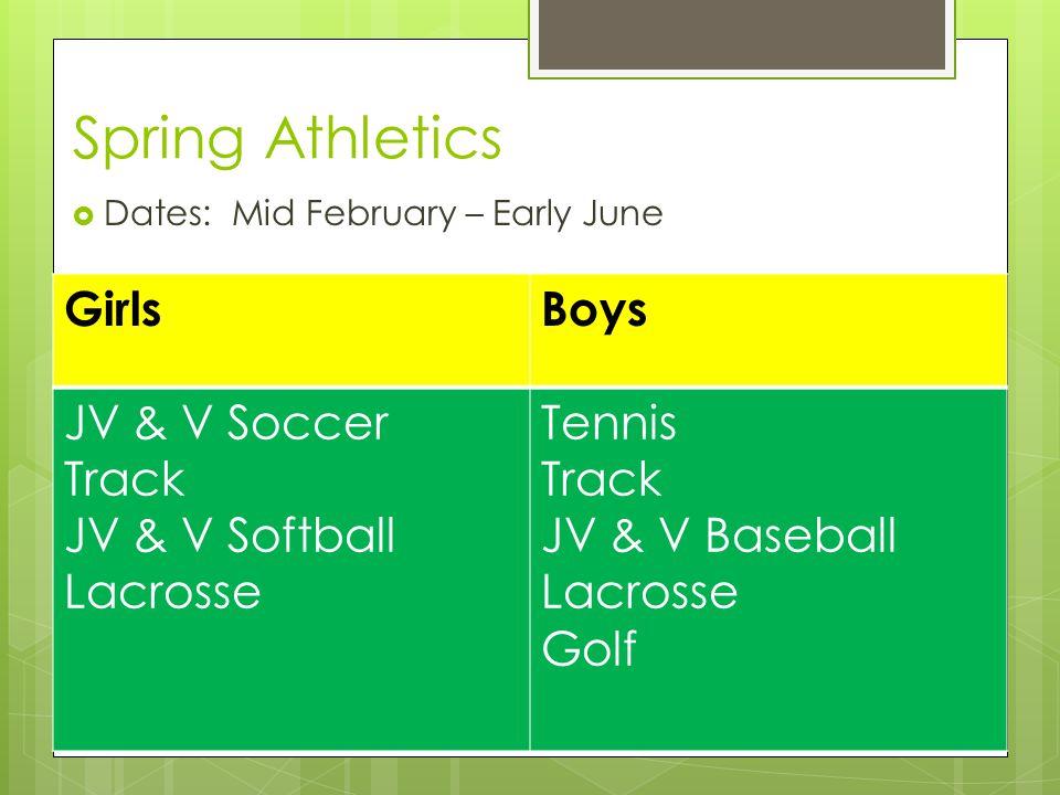 Spring Athletics  Dates: Mid February – Early June GirlsBoys JV & V Soccer Track JV & V Softball Lacrosse Tennis Track JV & V Baseball Lacrosse Golf