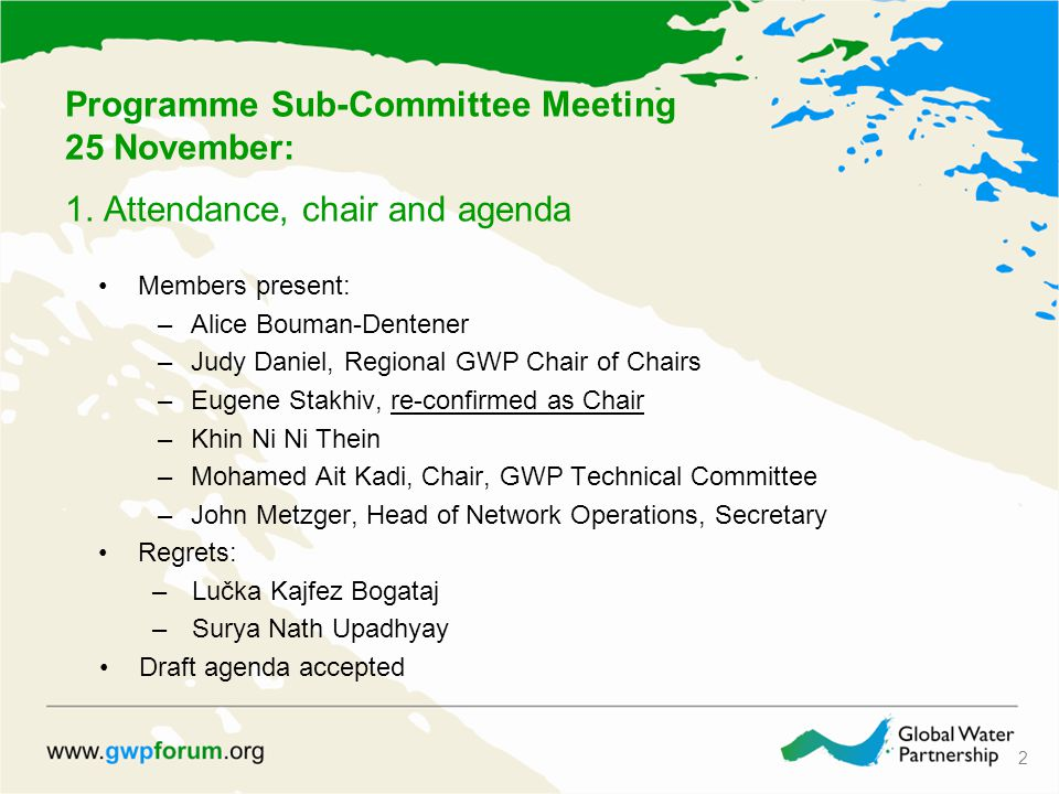Programme Sub-Committee Meeting 25 November: 1.